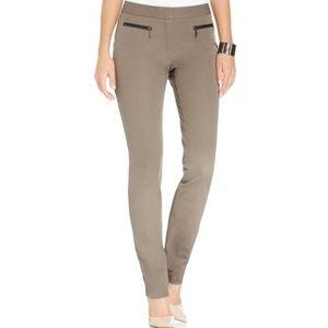 Alfani Faux-Leather-Trim Skinny Pants